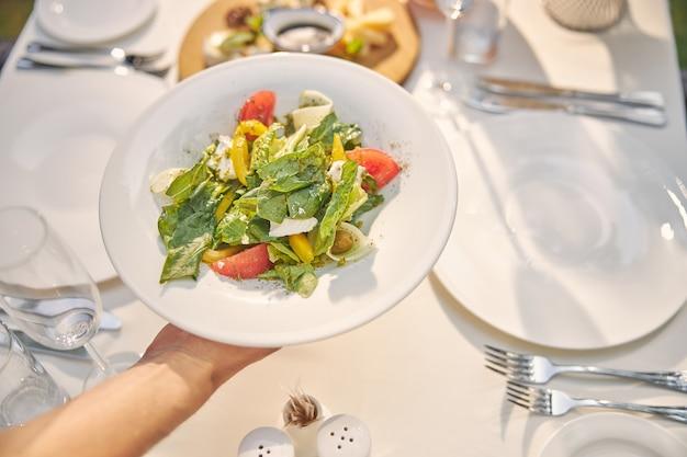 Вкусный салат от шеф-повара в белой тарелке для почетных гостей