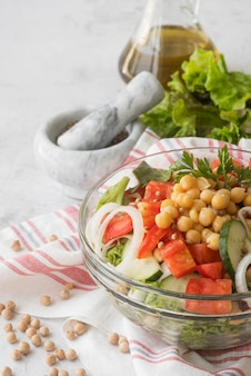 Delicious salad with beans concept