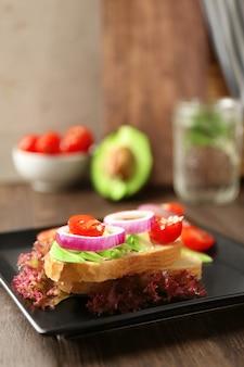 Delicious sandwich on plate, closeup