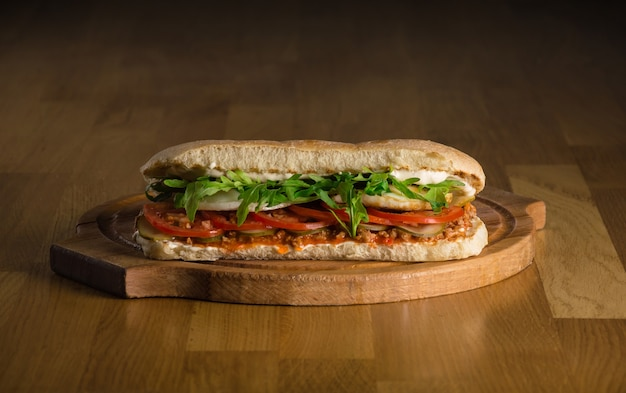 Delicious sandwich with ciabatta fresh vegetables