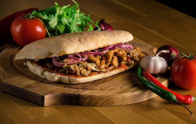 Delicious sandwich with ciabatta