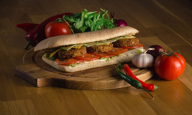 Delicious sandwich with fresh vegetables