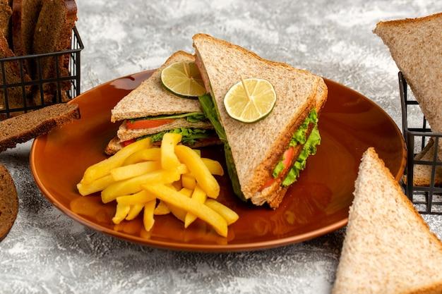 Delizioso panino con insalata verde pomodori e prosciutto all'interno della piastra con patatine fritte