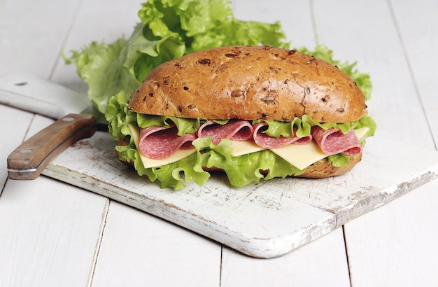 Delicious sandwich with lettuce
