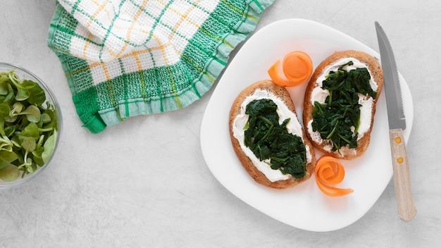Delicious sandwiches arrangement with copy space