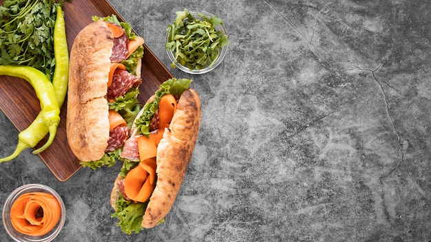 Delicious sandwiches composition with copy space
