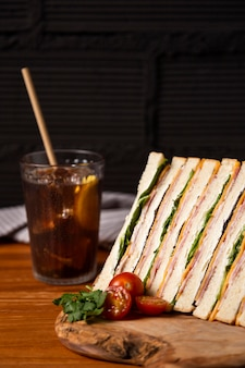 Delicious sandwiches with juice