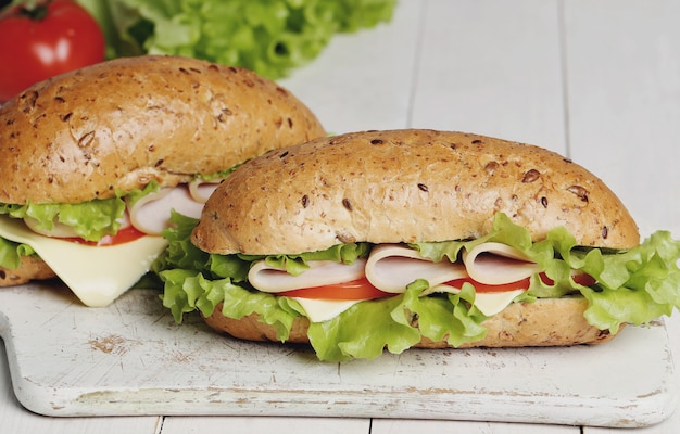Delicious sandwiches with lettuce