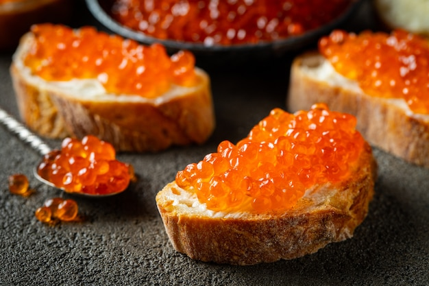 Delicious sandwiches with red caviar.