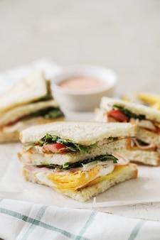 Delicious sandwiches with white bread