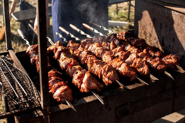 Delicious skewers of meat on the grill
