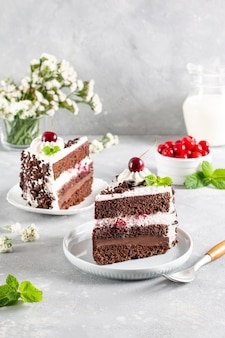 A delicious slice of black forrest cake. on a plate and ready to eat.