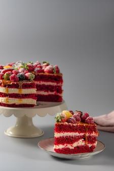 Delicious sliced red velvet cake
