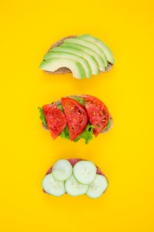 Delicious sliced vegetables composition top view