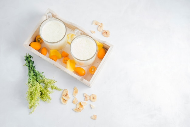 Delicious smoothies in wooden box