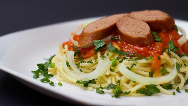 Delicious spaghetti with garlic