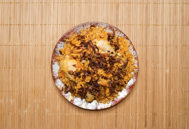 Delicious spicy chicken biryani, indian or pakistani food.