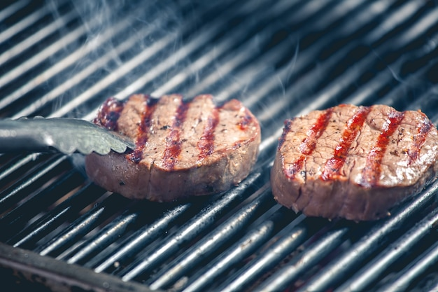 Delicious steak on the grill