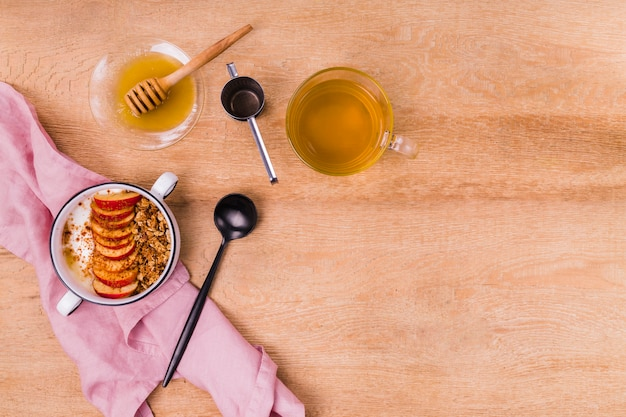 Delicious sticky honey with tea