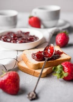 Delicious strawberry jam on bread
