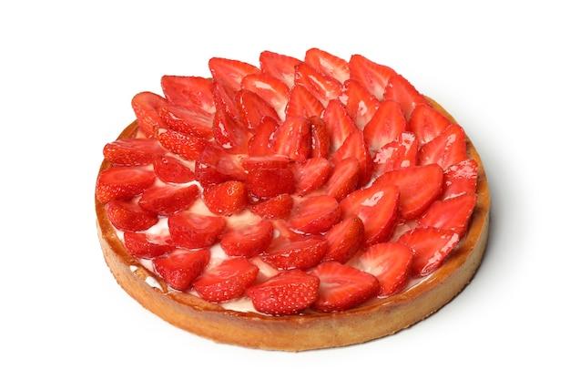 맛 있는 딸기 파이 흰색 배경에 고립입니다.
