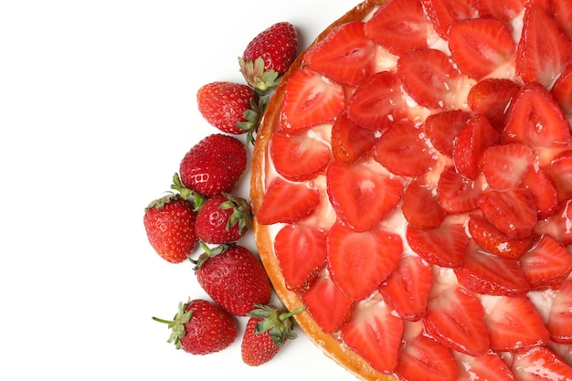 Delicious strawberry pie isolated on white background.