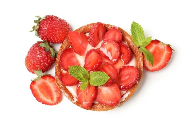 Delicious strawberry tart isolated on white background.