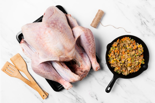 Delicious stuffed turkey ingredients flat lay