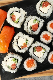 Delicious sushi rolls, top view. japanese food