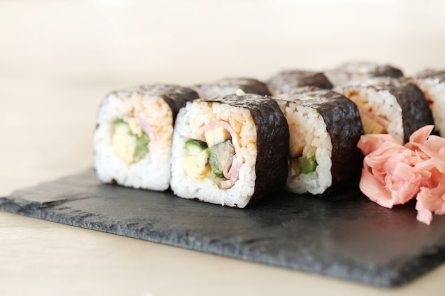 Delicious sushi served on the table