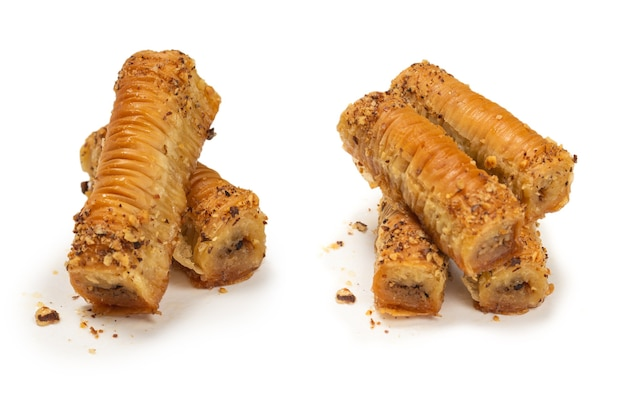 Delicious sweet baklava isolated on white background. top view.