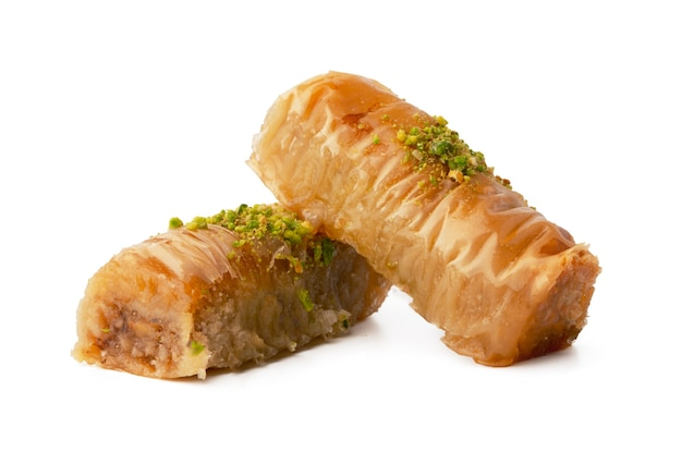 Delicious sweet baklava isolated on white background
