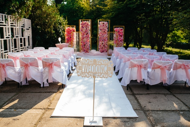 Delicious sweet beautiful wedding set up pink