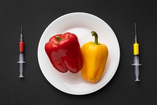 Alimento modificato ogm di peperone dolce delizioso