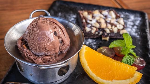 Delicious sweet ice cream chocolate fondue