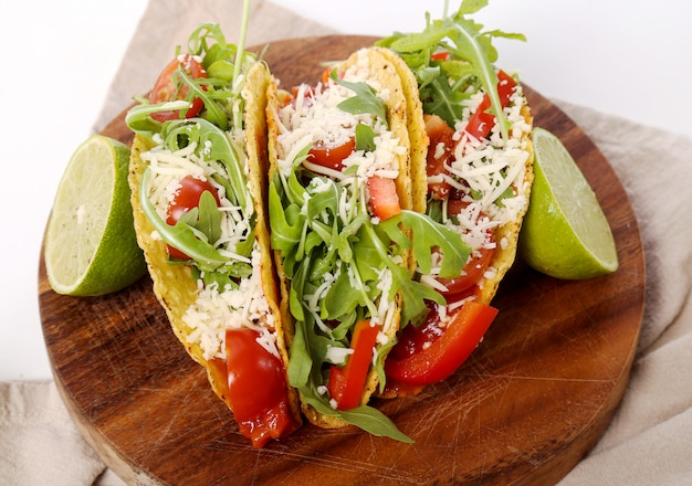 Delicious taco on wood plate