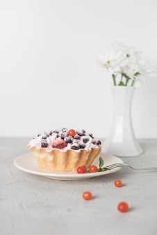Delicious tart with blueberries on ceramic plate against white backdrop