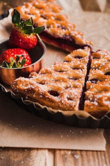 Delicious tart with jam