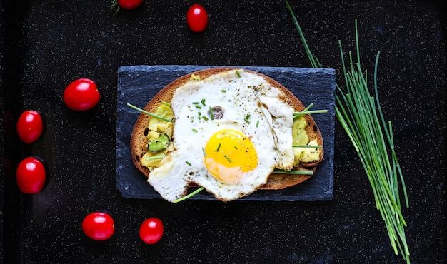Delicious tasty avocado eggs and tomato cheese toasts