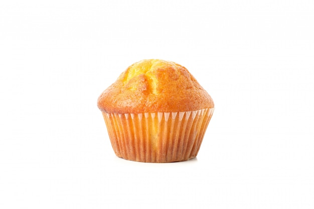 Delicious tasty muffin isolated on white