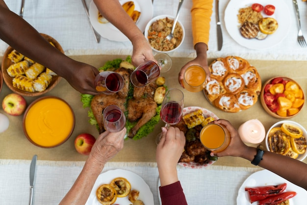 Delicious thanksgiving day food on the table