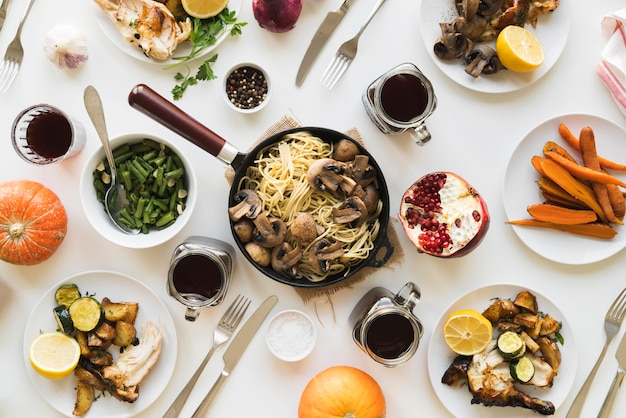 おいしい感謝祭の食べ物のトップビュー