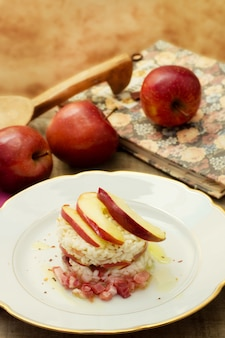 Delicious timbale of red stark apple and speck