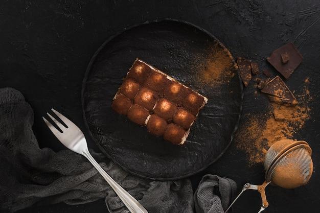 Delicious tiramisu dessert top view