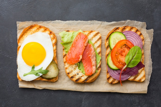 Delicious toast assortment top view