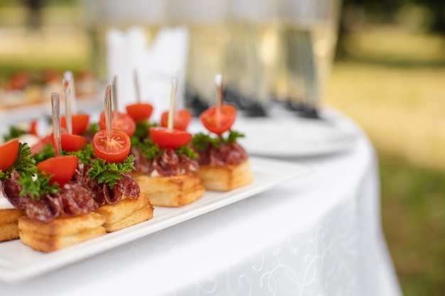 Delicious toasts served on white plates at wedding reception.