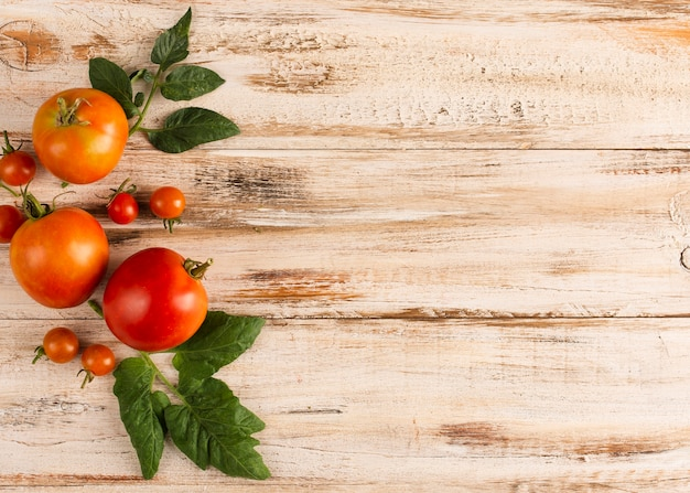 Delicious tomatoes on wooden board with copy space
