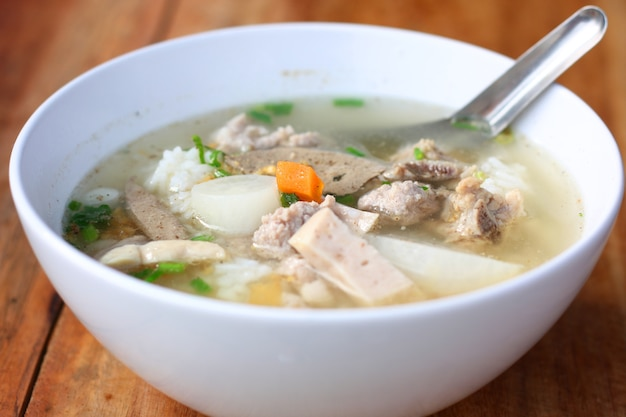 Delicious traditional pork spare ribs rice noodles soup.vietnamese noodle soup in white bo