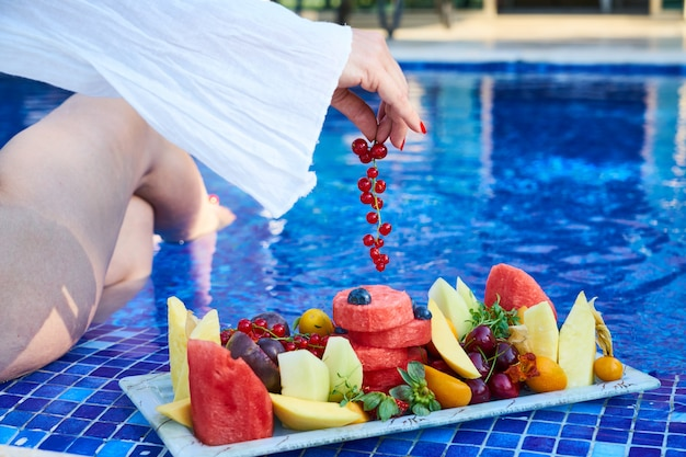 Delicious tropical fruits and summer holiday