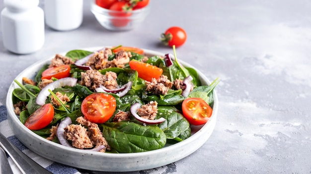 Delicious tuna salad with tomatoes, red onion and spinach. healthy and diet food concept. copy space